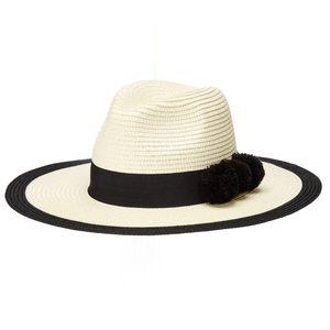 Michael Stars Black Pom Party Wide Brim Hat